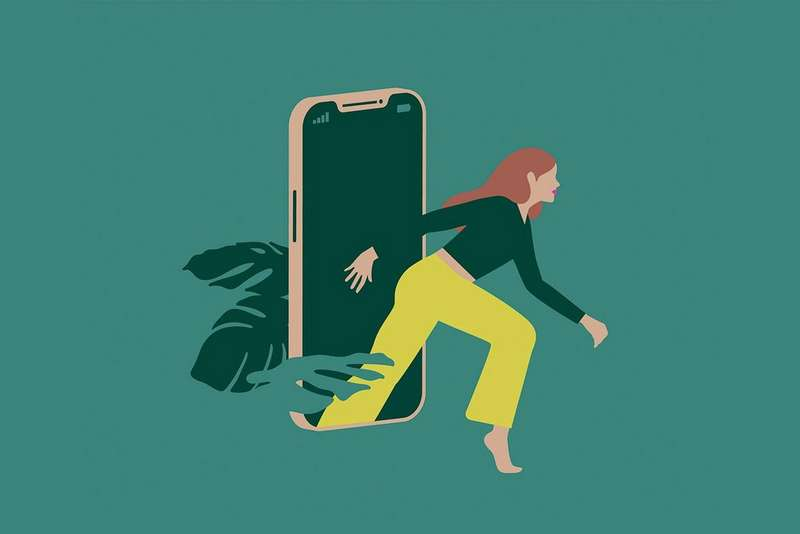 Illustration of woman stepping out of a smart phone