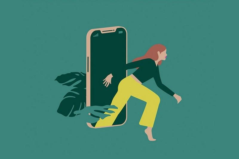 Illustration einer Frau, die von einem Handy wegtritt