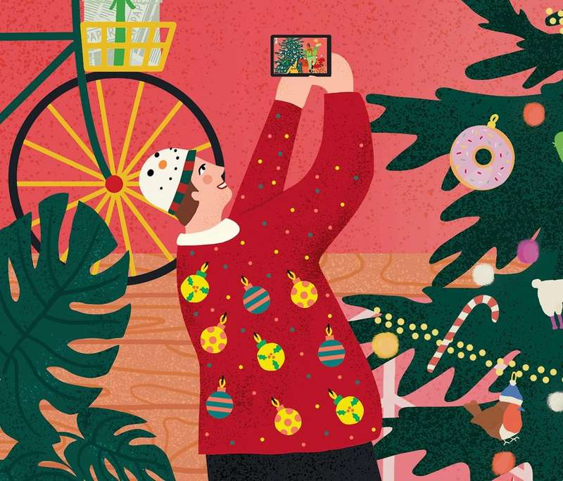 Illustration of man wearing Christmas jumper taking a selfie next to a Christmas tree