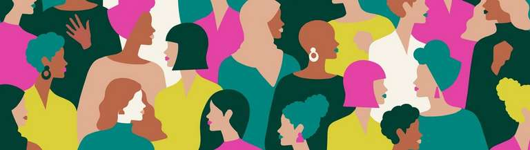 Pink green and white illustration of a diverse range of women