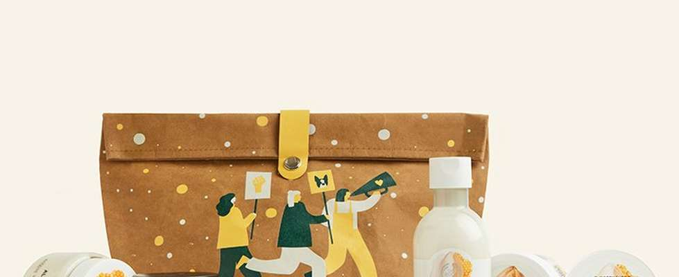 Almond milk and honey Christmas gift set against beige background