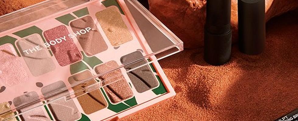 The Body Shop make-up range in dessert setting
