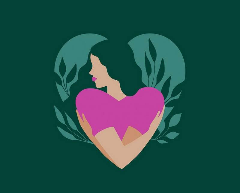 Illustration of woman hugging herself in the shape of a heart