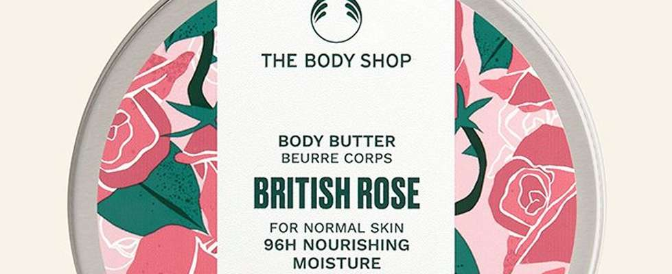 British rose body butter against beige background