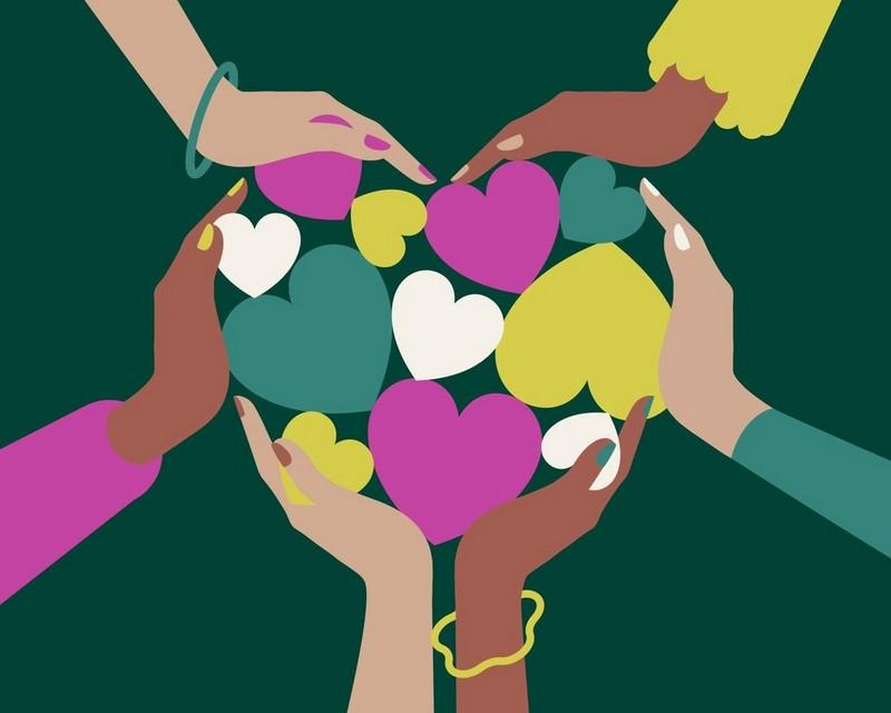 Ilustración de manos sosteniendo corazones