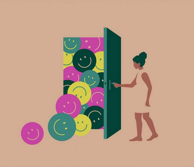Illustration of a woman opening a door with smiley face emojis behind