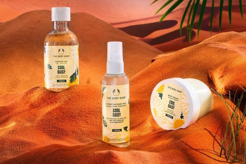 The Body Shop Daisy range in a desert setting