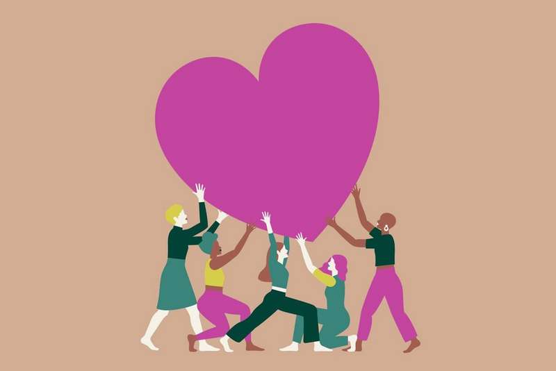 Illustration of people holding a pink heart