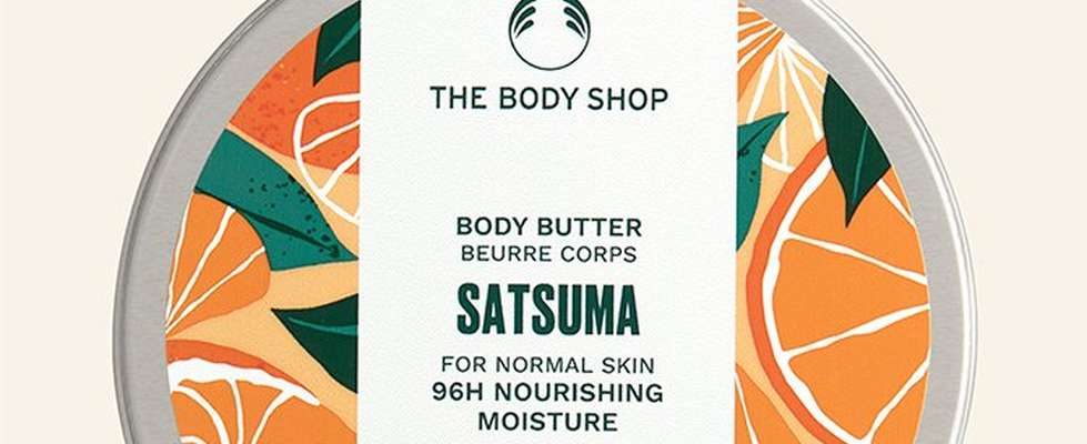 Satsuma body butter against beige background