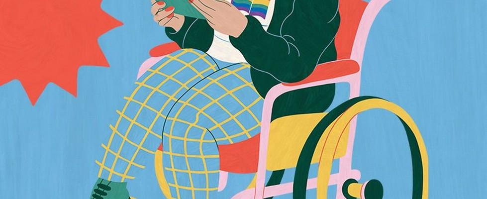 Ilustración de una mujer en silla de ruedas leyendo un libro