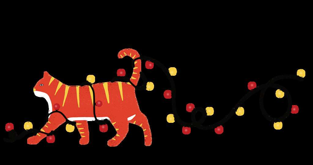 Illustration of red and yellow striped cat with Christmas lights weaved throughout it's tail and legs