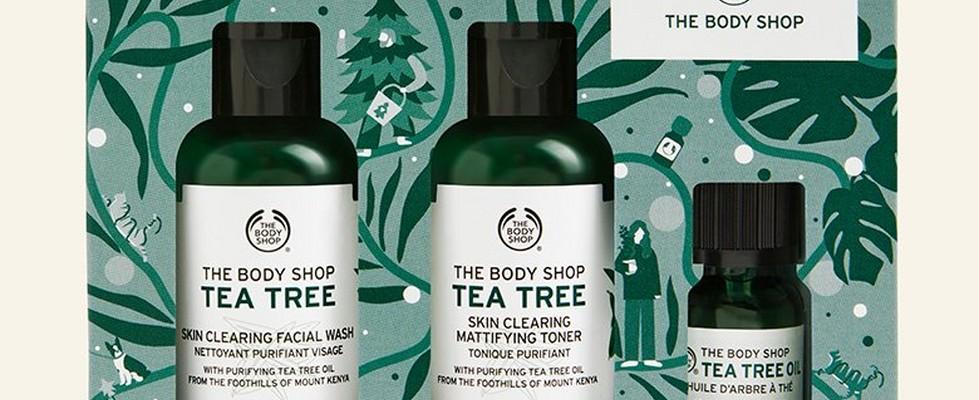 Tea tree skincare gift set against beige background