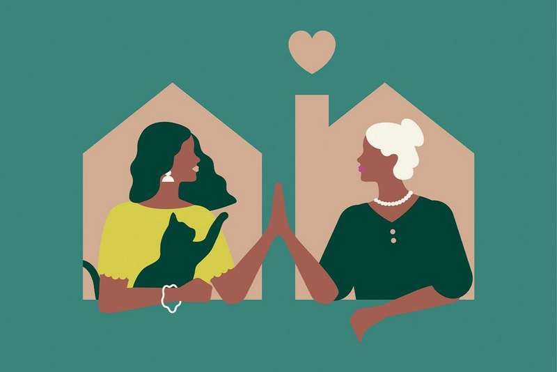 Illustration of two women in a house high fiving
