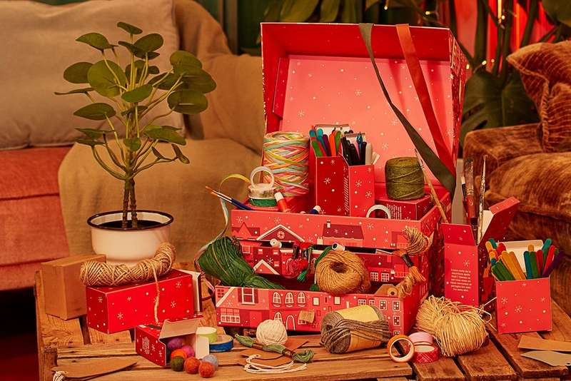 Advent calendar box filled with crafts