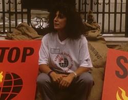 Anita Roddick at a protest