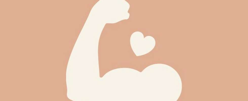 Illustration of an arm flexing with a heart next to it