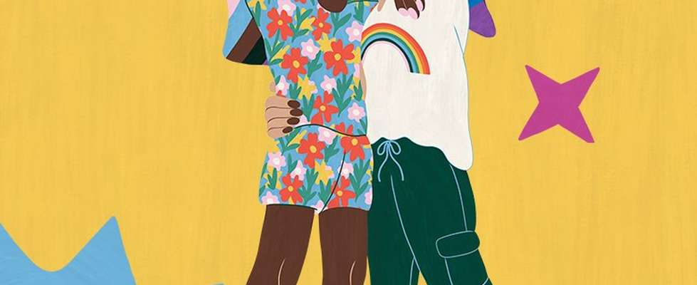Ilustración de dos personas besándose
