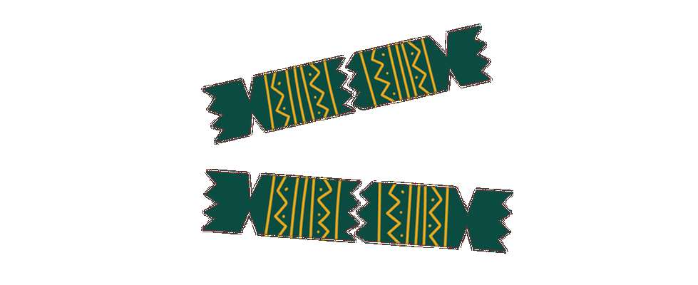 Illustration of two green and yellow Christmas crackers