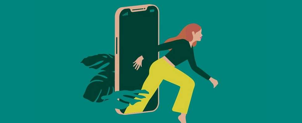 Illustration of woman stepping out of a mobile phone