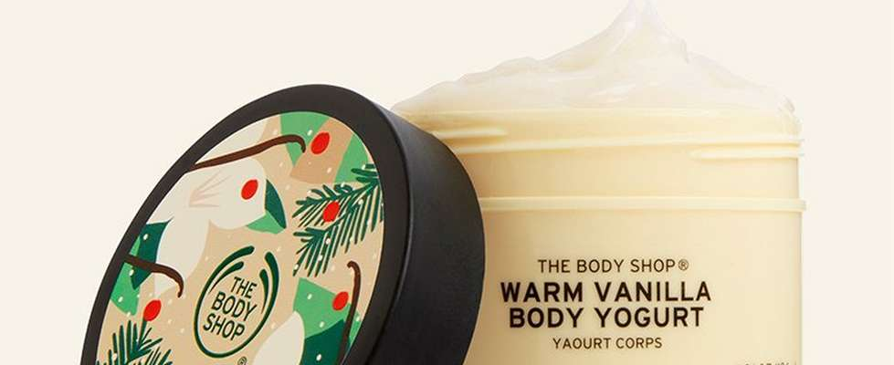 Warm vanilla body yogurt against beige background