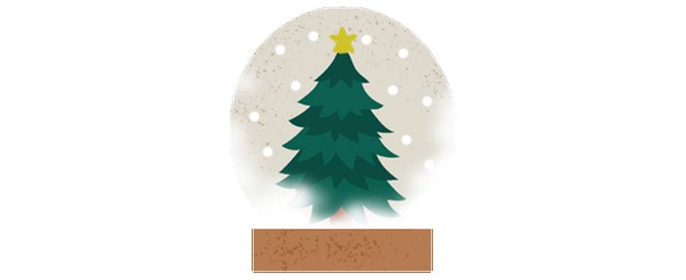 Illustration of green Christmas tree inside snow globe with wooden base
