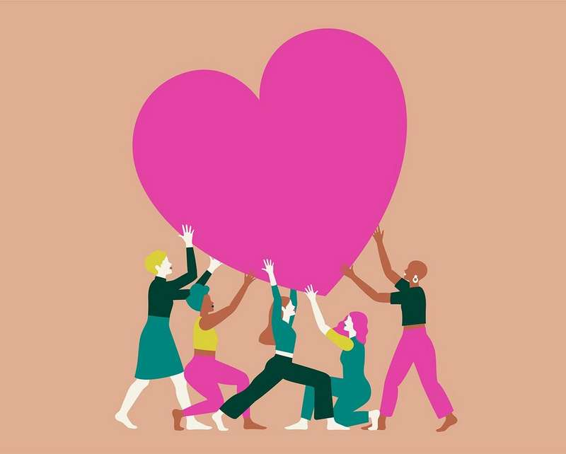 Illustration of people holding a pink heart up