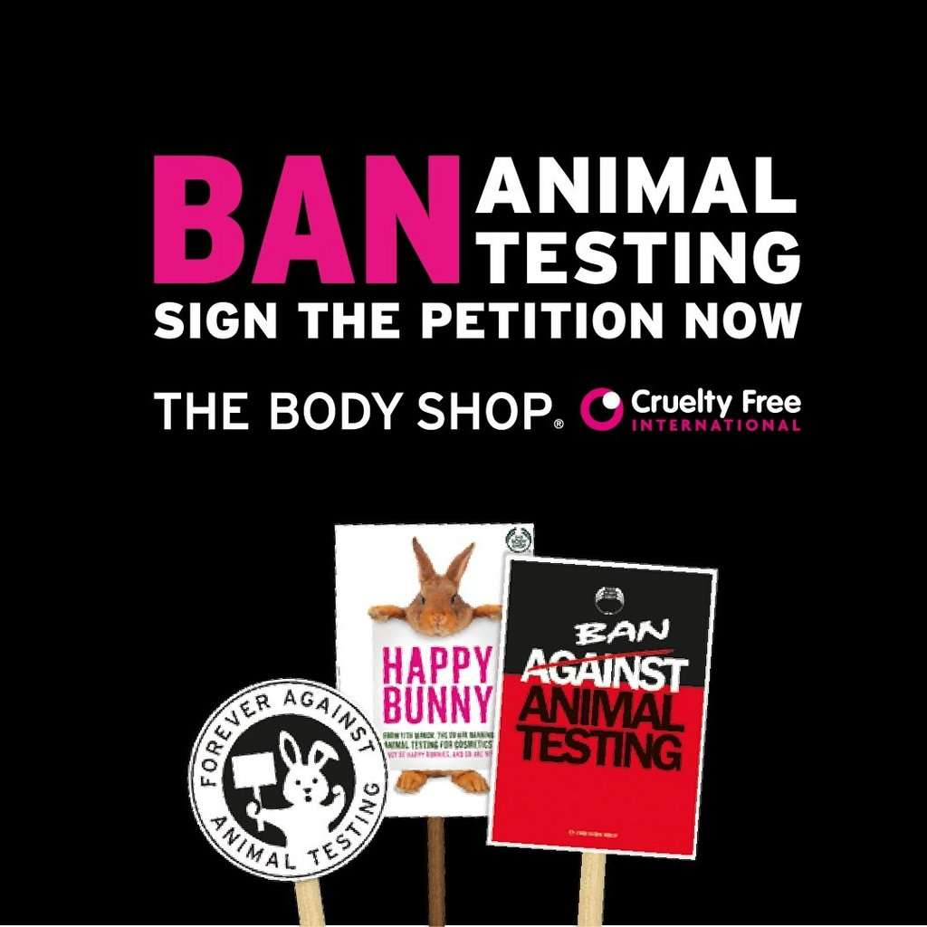 Cartel de The Body Shop y Cruelty Free International contra la experimentación con animales