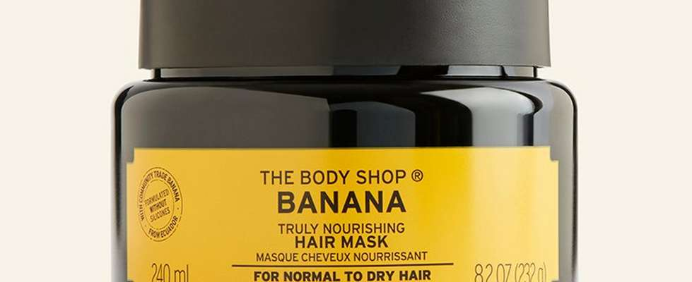 Banana hair mask against beige background