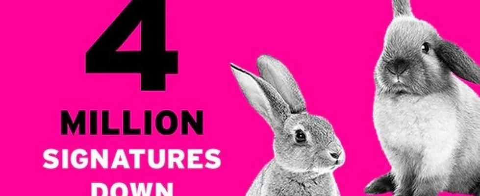 """Imagen con dos conejos y texto en inglés """"4 millones de firmas"""""""