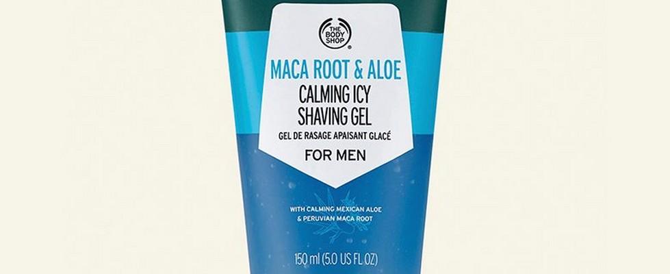 Maca root calming icy shaving gel against beige background