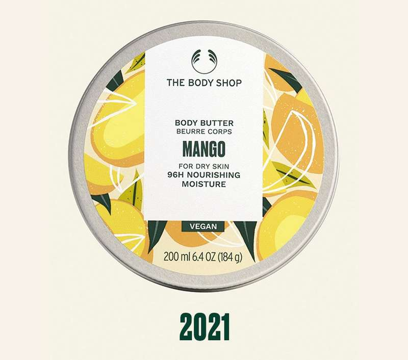 Mango Body Butter mit '2021' in grünem Text