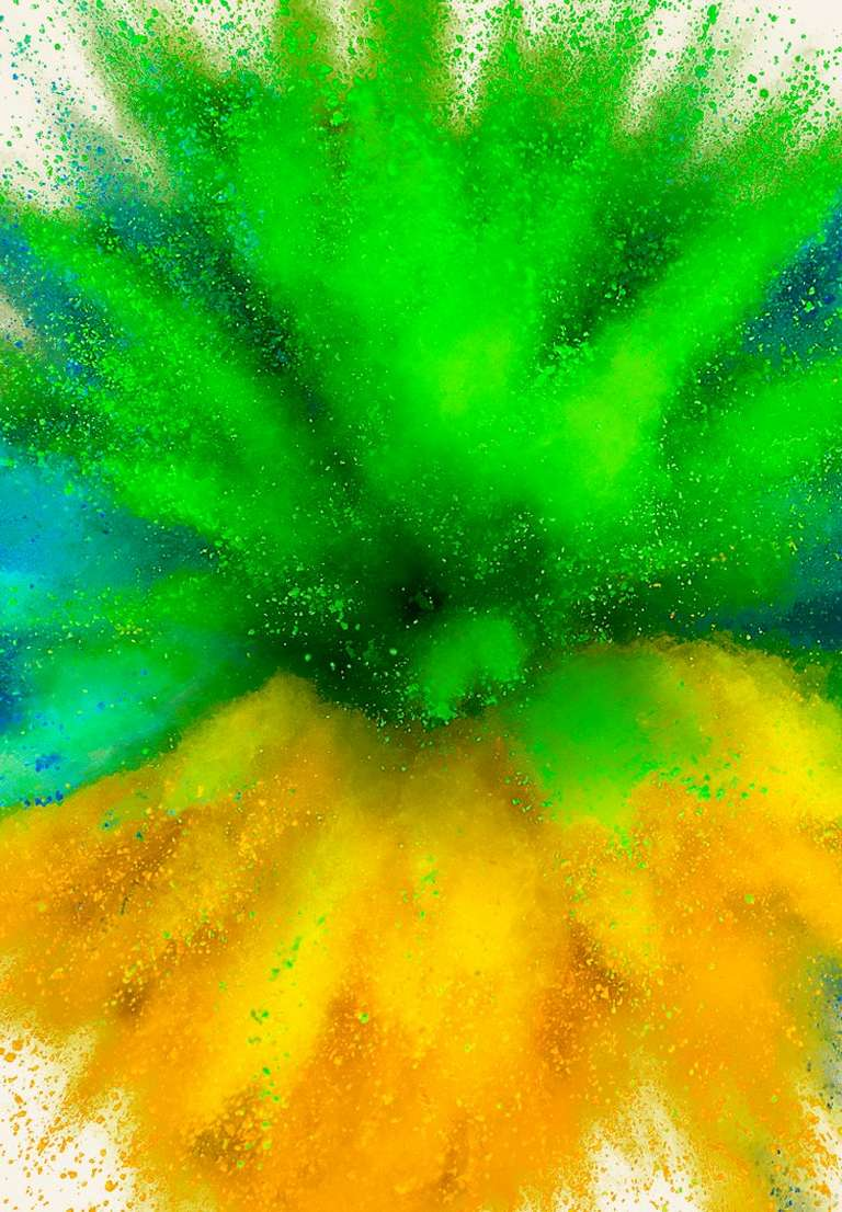 Green, blue and yellow paint eplosion