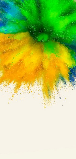 Green, yellow and blue paint explosion