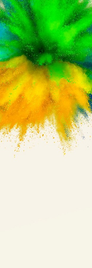 Green, yellow and blue plaint explosion
