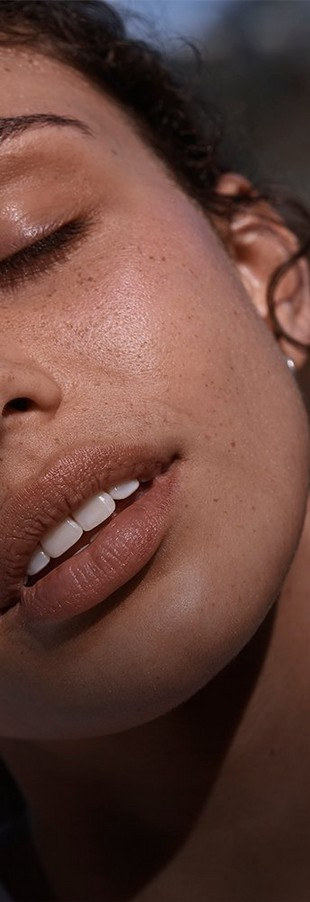 Close up shot of models with freckles