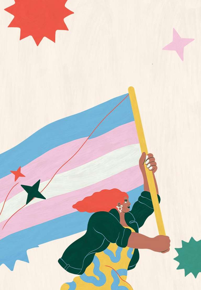 Illustration of person holding a rainbow flag