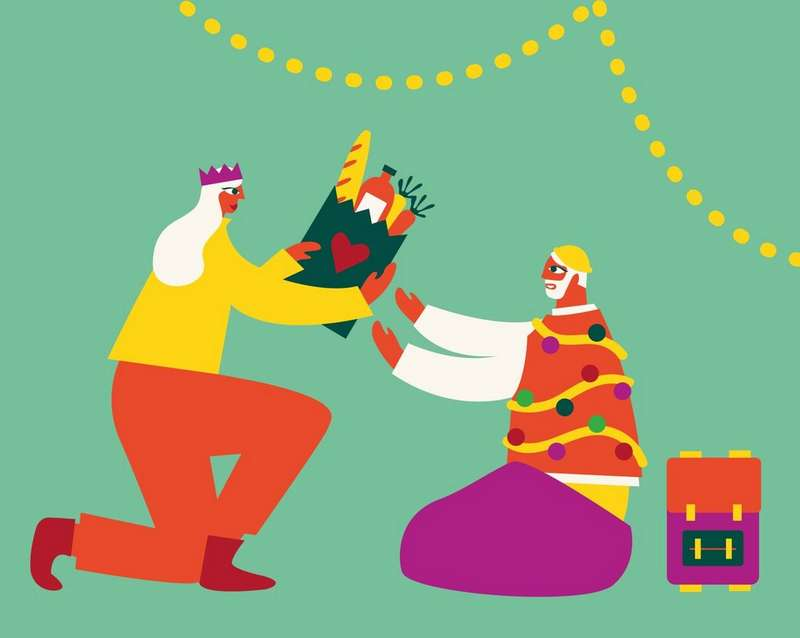 Christmas illustration of person giving a gift