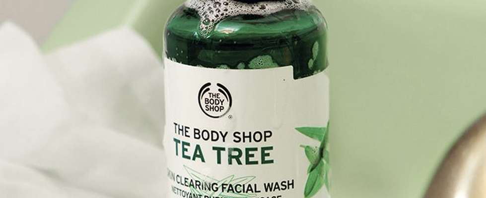 Tea Tree face wash in bathroom setting