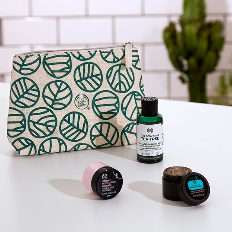 Pouch with skincare products