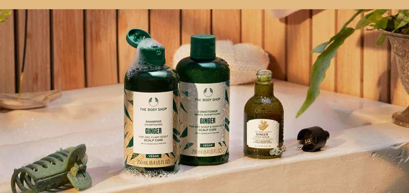 The Body Shop Ginger hair care products