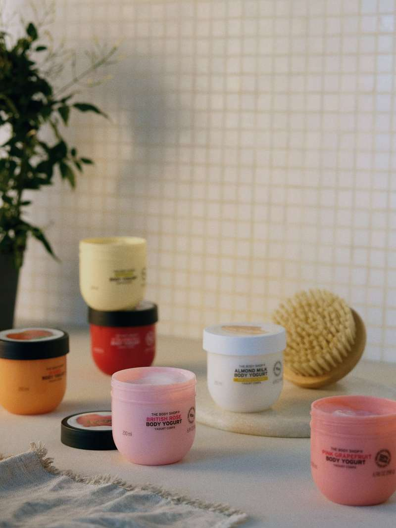 Body yogurt pots on a table