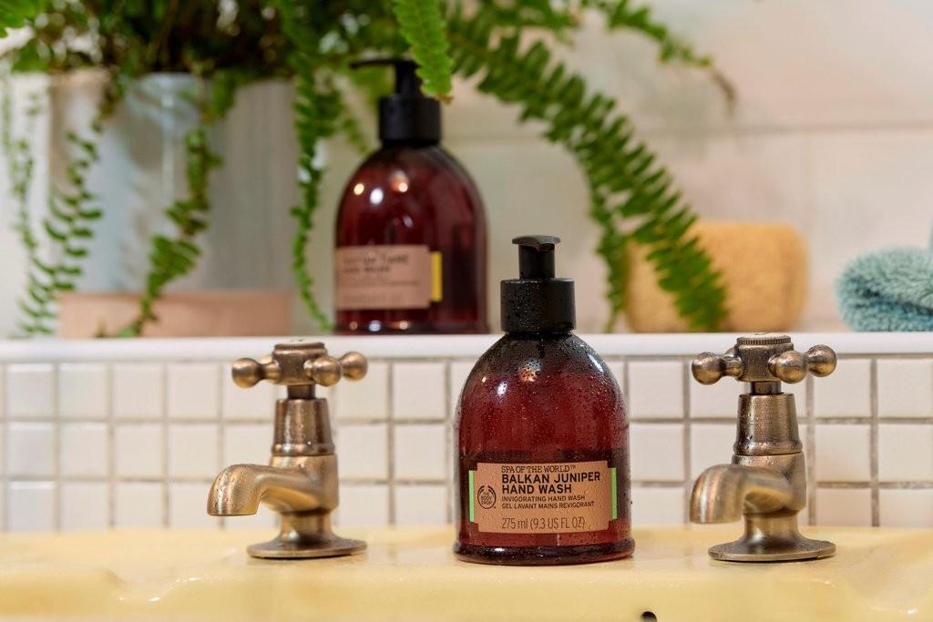 The Body Shop Spa Hand Wash on bathroom sink