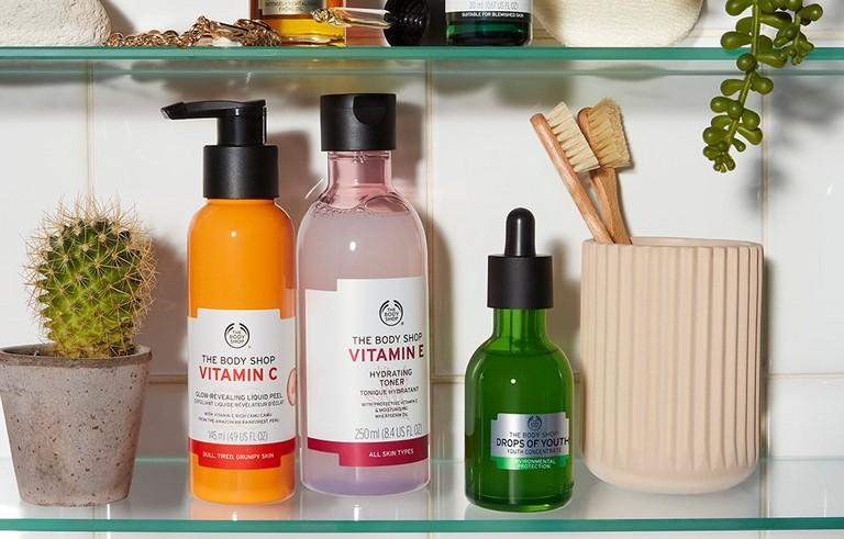 Skincare on bathroom shelf