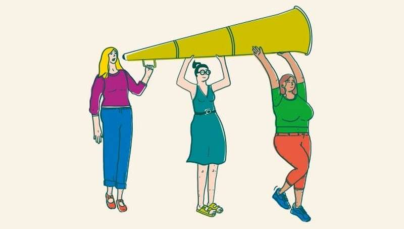 Illustration of women holding a megaphone