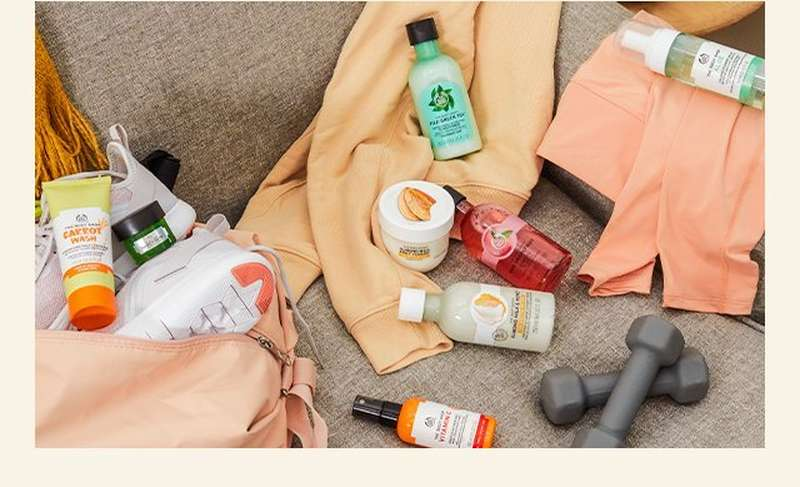 The Body Shop products and workout items