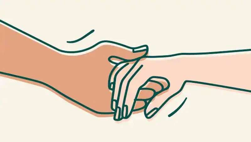 Illustration of holding hands