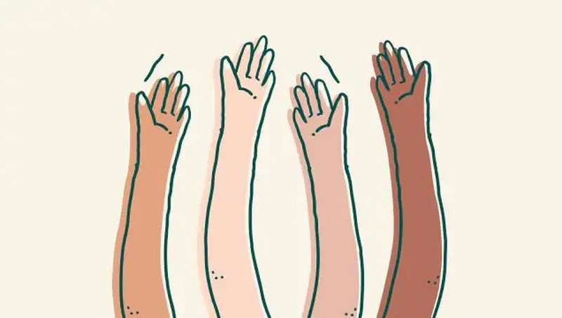 Illustraton of four hands in the air