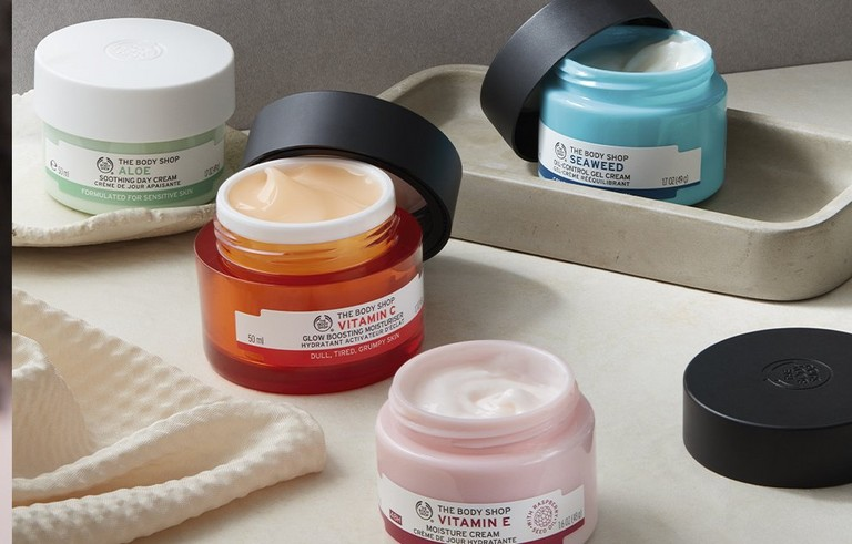 Selection of moisturisers with the lid off