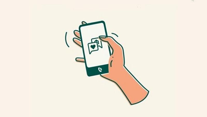 Hand holding phone illustration