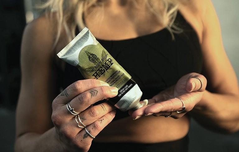 Madison using hemp hand cream